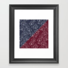 Retro . Orchid flowers on a red and blue background . The combined pattern . Framed Art Print