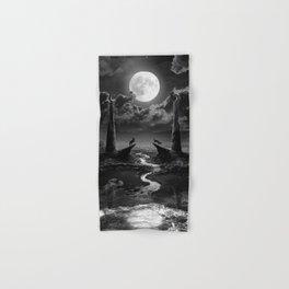 XVIII. The Moon Tarot Card Illustration Hand & Bath Towel