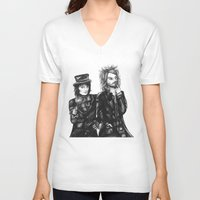 goth V-neck T-shirts featuring Goth Detectives by Grace Mutton