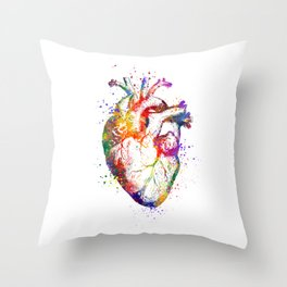 Heart Anatomy Art Heart Watercolor Art Anatomy Art Anatomical Heart Surgery Gift Medical Gift Throw Pillow