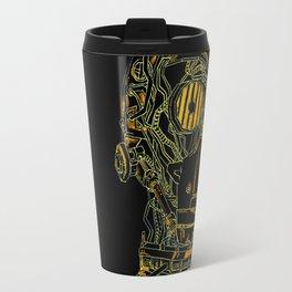 Geometric Black and Gold Robot Travel Mug