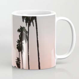 California Sunset // Palm Tree Silhouette Street View Orange and Blue Color Sky Beach Photography Coffee Mug