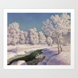 Winter Morning, After New Snow, Along the Emerald Stream by Ivan Fedorovich Choultsé Art Print