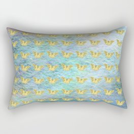 Gold butterflies on textured background Rectangular Pillow