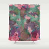 tie dye Shower Curtains featuring Pink Tie-dye by Marcelo Romero