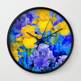 Decorative Yellow Iris Garden Landscape Abstract Wall Clock
