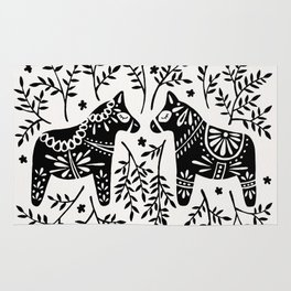 Swedish Dala Horses – Black Palette Rug