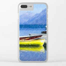 Lake McDonald Boats Clear iPhone Case