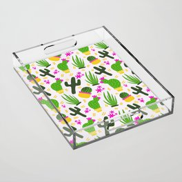 Cactus Pattern of Succulents Acrylic Tray
