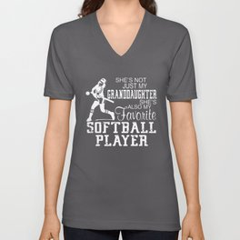 shes not just my granddaughter softball t-shirts Unisex V-Neck