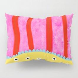 Vertical lines red pink poka dots yellow Pillow Sham