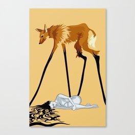 Fox & Girl Canvas Print