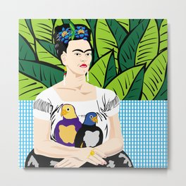 Frida Kahlo with parrots Metal Print