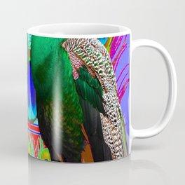 GREEN PEACOCKS & RED-PURPLE  MODERN ART Coffee Mug