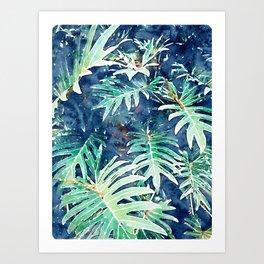 Rain + Leaves #nature #watercolor Art Print