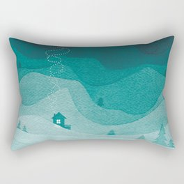 Stars factory, teal mountains house watercolor landscape Rectangular Pillow
