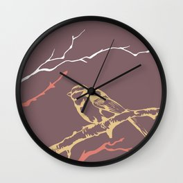 Bird on branch (purple, pink, yellow, white) illustration Wall Clock