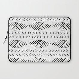 Mudcloth black and white linocut pattern geometric minimal modern trendy design Laptop Sleeve