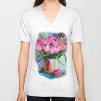tulips V-neck T-shirts featuring Tulips by OLHADARCHUK