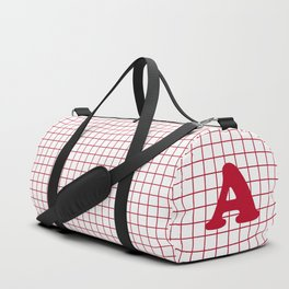 Monogram A on Grid - red on white Duffle Bag