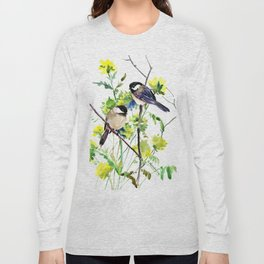 chickadees and Spring Blossom Long Sleeve T-shirt