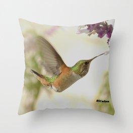 Ms. Hummingbird Checks Another Nectar Source Throw Pillow