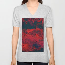 Red Abstract Texture (Color) Unisex V-Neck