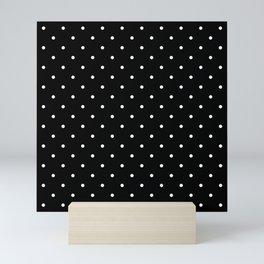 Small White Polka Dots with Black Background Mini Art Print