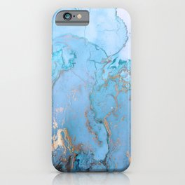 Blue Gold Ink Marble iPhone Case