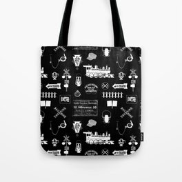 Railroad Symbols on Black Tote Bag