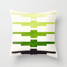 Ancient Aztec Inca Geometric Pattern Watercolor Sap Green Colorful Gouache Painting Throw Pillow