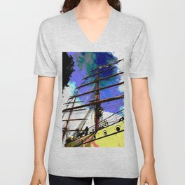 Mast rising towards the sky Unisex V-Neck