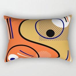 Opposing Sides - Abstract, orange and mustard, geometric, contrasting design Rectangular Pillow