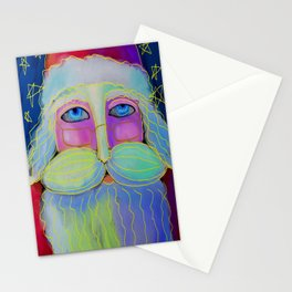Psychedelic Santa Abstract Digital Painting  Stationery Cards