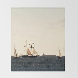 Sailboats in a windy day Throw Blanket