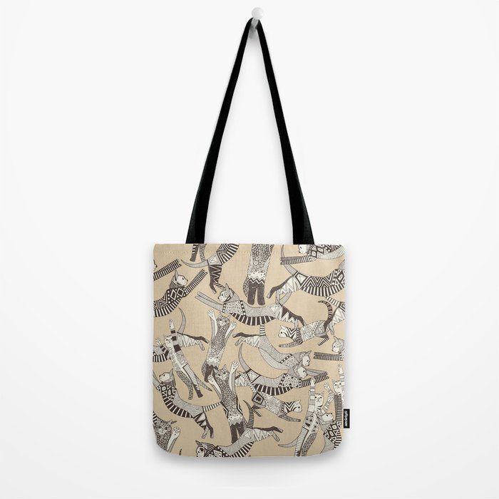 cat party beige natural Tote Bag