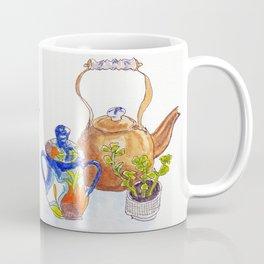 Kitchen Table Vignette: Copper Tea Kettle with Delft Trim, Art Deco Sugar Bowl, Succulent Coffee Mug