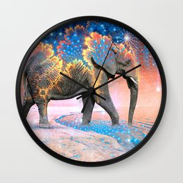 Elephant Drinking Soma Wall Clock