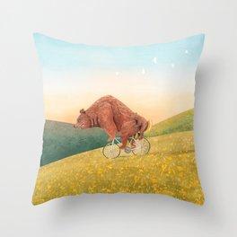 Bea morning cycling Throw Pillow
