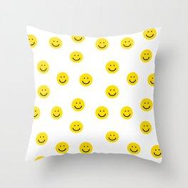 Smiley faces white yellow happy simple smiley pattern smile face kids nursery boys girls decor Throw Pillow
