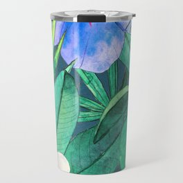 White Bird of Paradise & Blue Hibiscus Tropical Garden Travel Mug