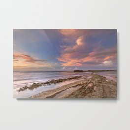 Rocky coast on the island of Curaçao at sunset Metal Print