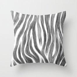 Animal Print Zebra Hand Painted Minimal Minimalistic Black and White Throw Pillow