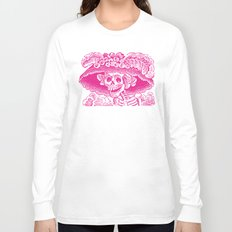 Calavera Catrina   Pink and White Long Sleeve T-shirt