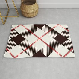 White Tartan with Diagonal Black and Red Stripes Rug