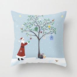 Santa Claus Dressing Tree Throw Pillow