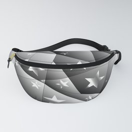 Metallic pattern of chaotic black and white fragments of glass, foil, highlights and silver stars. Fanny Pack