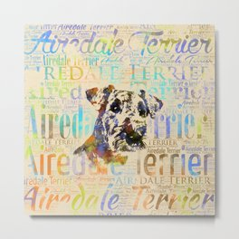 Airedale Terrier  Watercolor Word Art Metal Print