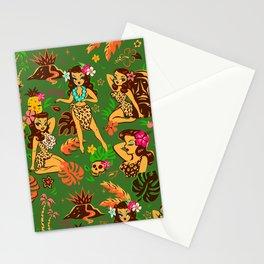 Tiki Temptress on Green Stationery Cards