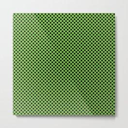 Jasmine Green and Black Polka Dots Metal Print